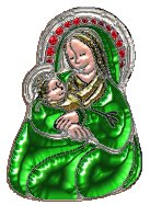 Virgin Mary and Christ Child emerald tube