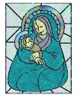 madonna and child stained glass 2 tube